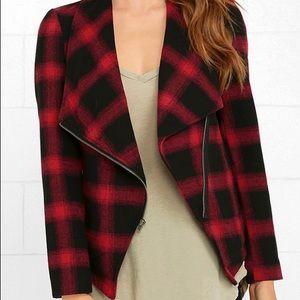 BB Dakota Red Plaid Blazer Jacket